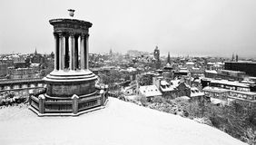 Snow covered Edinburgh from Calton Hill Stock Images