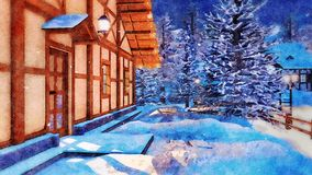 Rural house at snowy winter night in watercolor. Snow covered entrance of illuminated half-timbered rural house in alpine mountain village at magical snowy stock image