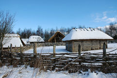 Snow covered farm buildings Stock Image