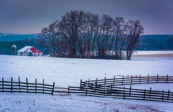 Snow covered farm fields and barn in rural York County, Pennsylv Stock Image