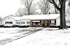 Snow Covered Farm House royalty free stock images