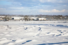 Snow covered farmland Royalty Free Stock Images