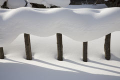 Snow-covered fence Royalty Free Stock Image