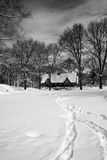 Snow covered field in Central Park in New York. View of snow covered field with tracks in Central Park in New York City in black and white Stock Image