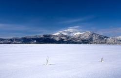 Snow covered field and a mountain. Royalty Free Stock Photography