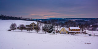 Snow covered fields and rolling hills in rural Carroll County, M Royalty Free Stock Image
