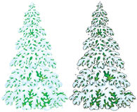 Snow-covered fir. Two illustrations of snow-covered fir with color and black contours Royalty Free Stock Images