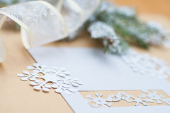 Snow-covered fir branches and Christmas decorations with space for text Royalty Free Stock Photography