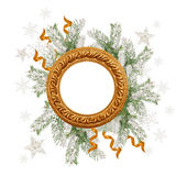 Snow-covered fir branches and Christmas round decorations with space for text.  Royalty Free Stock Photos