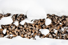 Snow covered firewood Royalty Free Stock Photos