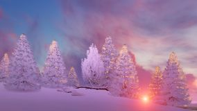 Snow covered firs under scenic sunset sky. Dreamlike winter scenery with snow covered fir tree forest under scenic colorful sunset or sunrise sky. 3D Royalty Free Stock Image
