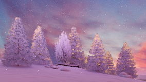 Snow covered firs under scenic sunset sky 4K vector illustration
