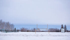 Snow covered football field Royalty Free Stock Photo