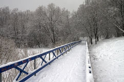 Snow-covered footbridge in a ravine. Forest park in Moscow Royalty Free Stock Images