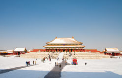 Snow covered Forbidden City Stock Image
