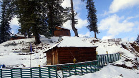 Snow-covered forest rest house. Scenic view of a snow-covered forest rest house, Narkanda, Shimla, Himachal Pradesh, India, Asia Stock Photography