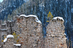 Snow-covered fortress wall at mountain Royalty Free Stock Photo