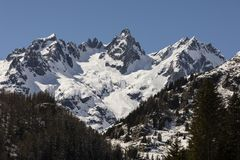 Snow-covered, fresh white mountain peak in the Alps of Switzerland. Snow-covered, fresh white mountain peak in the Alps of Central Switzerland Royalty Free Stock Image