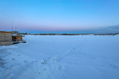 Snow covered frozen river Stock Photo