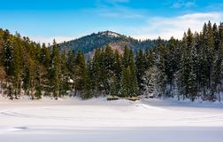 Snow covered frozen Synevyr lake in winter. Beautiful nature scenery of most visited locations in Carpathian mountains Stock Photo