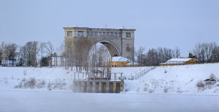 Snow covered frozen Volga Royalty Free Stock Photography