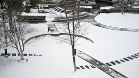 A snow covered garden. With modern style Royalty Free Stock Photos