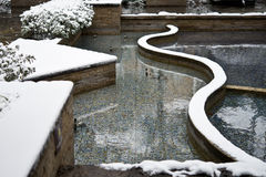 A snow covered garden. With modern style Stock Photo