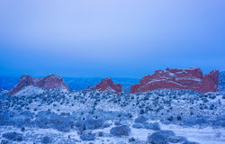 Snow Covered Garden of the Gods Royalty Free Stock Images