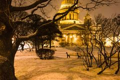 Snow-covered garden near Saint Isaac's Cathedral. On St Isaac Square in Saint Petersburg city in night snowfall Royalty Free Stock Photo