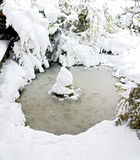 Snow covered garden pond Stock Images