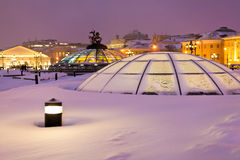 Snow covered glass cupola on Manege square, Moscow Stock Photo