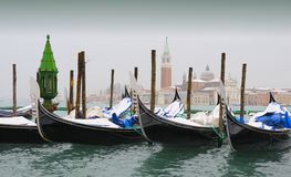 Snow-covered Gondolas, Venice in Winter Stock Photo
