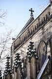 Snow Covered Gothic Chapel - Spring Grove Cemetery - Cincinnati, Ohio. A view of a majestic stone Gothic styled chapel in Spring Grove Cemetery in Cincinnati Stock Photography