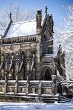 Snow Covered Gothic Chapel - Spring Grove Cemetery - Cincinnati, Ohio. A view of a majestic stone Gothic styled chapel in Spring Grove Cemetery in Cincinnati Stock Photo