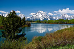 Snow-covered Grand Teton Mountains Stock Image