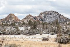 Snow Covered Granite Dells Royalty Free Stock Photography