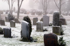 Snow Covered Graves Royalty Free Stock Photography