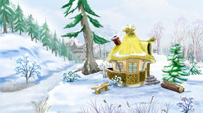 Snow Covered Green Pine Trees near a Fairy Tale House. In a Winter day. Handmade illustration in a classic cartoon style Royalty Free Stock Images