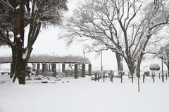 Snow covered ground. A heavy fall of snow covered the ground Royalty Free Stock Photo