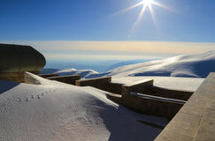 Snow covered ground at Nemrut mount Stock Images