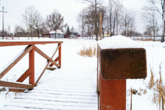 Snow covered handrail. Closeup of a snow covered wooden handrail of the footbridge stock photos