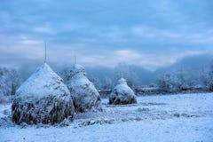 Snow Covered Haystacks Royalty Free Stock Photo