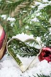 Snow covered heart baking tin Stock Image