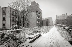 Snow covered High Line in Winter, Chelsea, New York City Stock Images