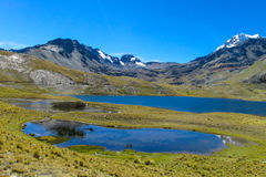 Snow covered high mountain and blue lakes in Andes Royalty Free Stock Image