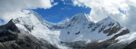Snow covered high mountains royalty free stock photo