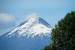 Snow covered hight volcano Osorno in Chile royalty free stock image
