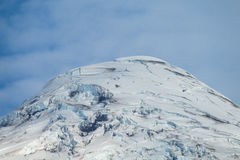 Snow covered hight volcano summit above the forest stock photo