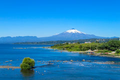 Snow covered hight volcano summit above the lake Stock Image