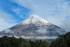Snow covered hight volcano summit royalty free stock images